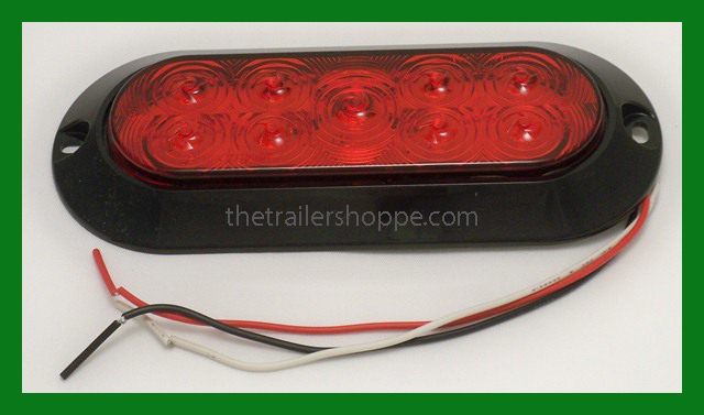 red 6 oval stop turn tail light 9 led surface mount. Black Bedroom Furniture Sets. Home Design Ideas