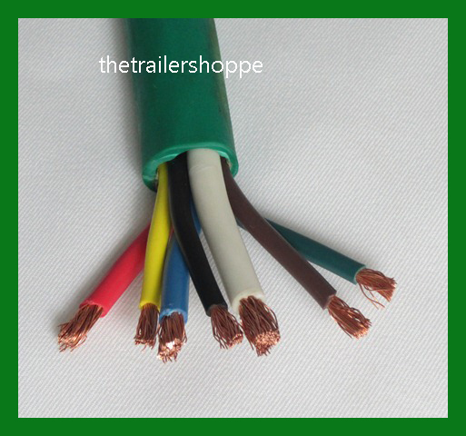 Trailer Light Cable Wiring Harness 7 Wire Jacketed Green
