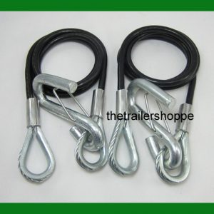 "Coiled Safety Cables Trailer 40"" 3500# Replace Chains"