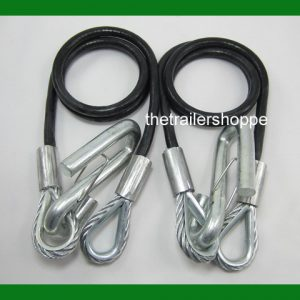 "Coiled Safety Cables Trailer 40"" 7500# Replace Chains"