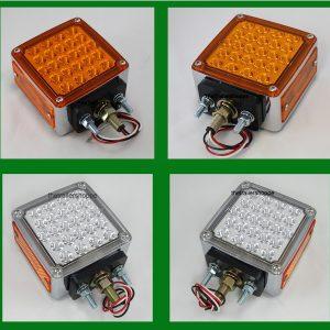 Chrome Square Pedestal Red/Amber 52 LED