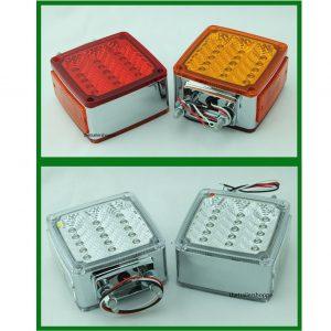 Chrome Square Pedestal Red/Amber 39 LED