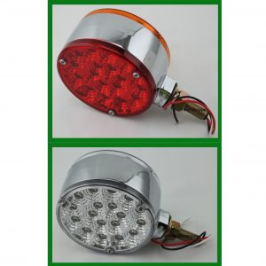 "Pedestal Fender Light Red/ Amber Lens 4 1/8"" Round"
