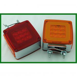 "Chrome Square Pedestal Red/Amber 59 ""GLO"" LED"