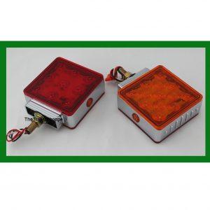Chrome Square Pedestal Red/Amber 23 LED
