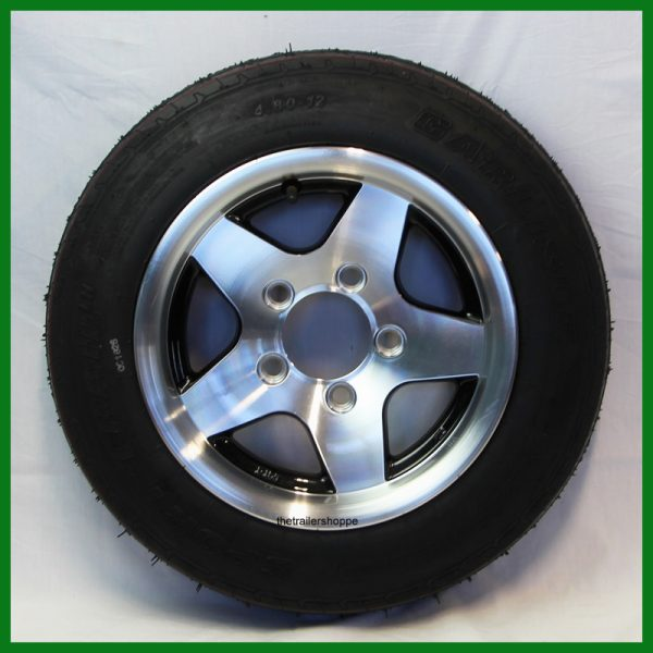 Aluminum Trailer Wheel 5.30-12 Tire LR C 5 bolt