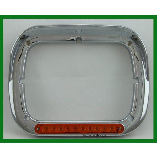 Chrome 6X8 Single Headlight Bezel with 10 LED Amber
