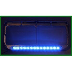 Chrome Rectangular Headlight Bezel with 14 LED Blue