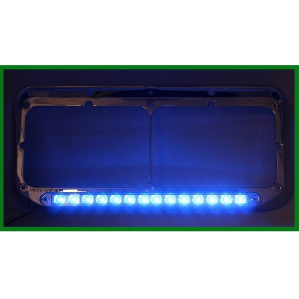 Chrome Rectangular Headlight Bezel with 14 LED Blue