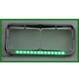 Chrome Rectangular Headlight Bezel with 14 LED Green