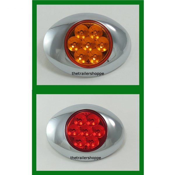 "Low Profile Pearl 7 LED Light with Chrome Bezel 2-5/8"" X 3-5/8"""