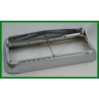 Chrome Rectangular Headlight Bezel with 14 LED Green