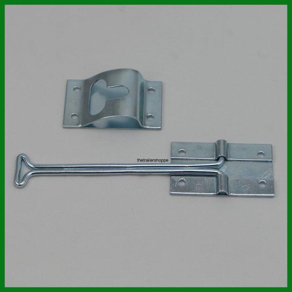 "Steel Door Holdback 6"" Long Hook & Keeper"