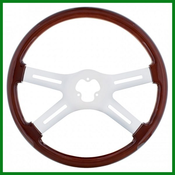 """18"""" Black Diamond Stitched Leather Steering Wheel Cover"""