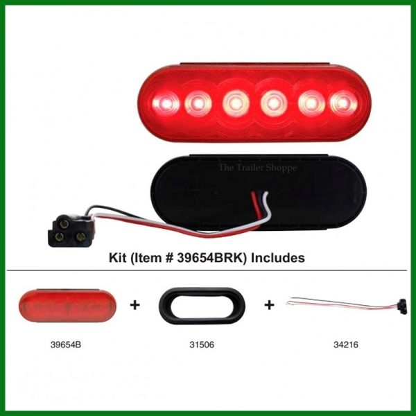 "Stop, Tail, Turn Light 6"" Oval 6 LED -Kit"