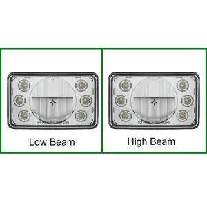 "Rectangular 4"" X 6"" LED Crystal Headlight With 6 White LED Position Light"